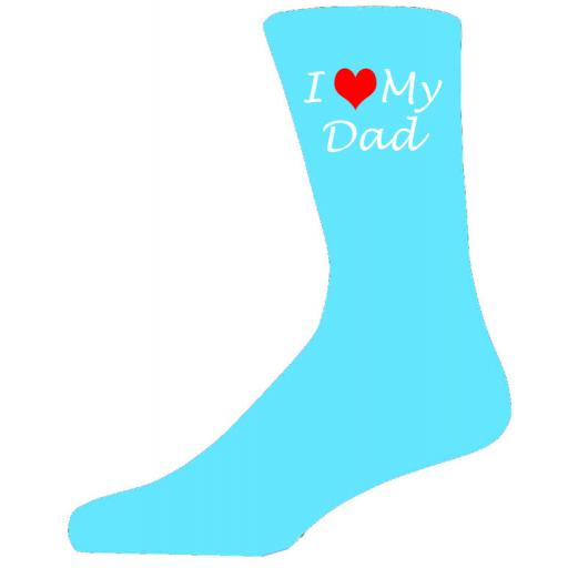 I Love My Dad on Turquoise Socks, Lovely Birthday Gift Adult size UK 6-12 Ideal for a Christmas, birthday or anytime gift