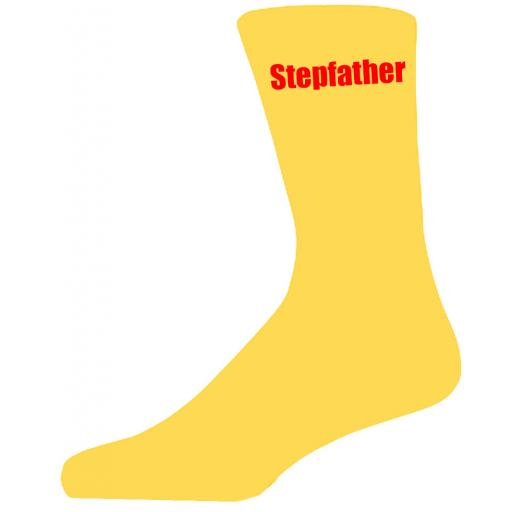 Yellow Wedding Socks with Red Stepfather Title Adult size UK 6-12 Euro 39-49