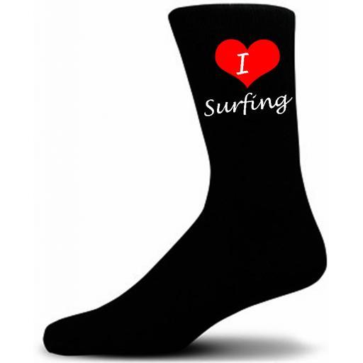 I Love Surfing Socks Black Luxury Cotton Novelty Socks Adult size UK 5-12 Euro 39-49