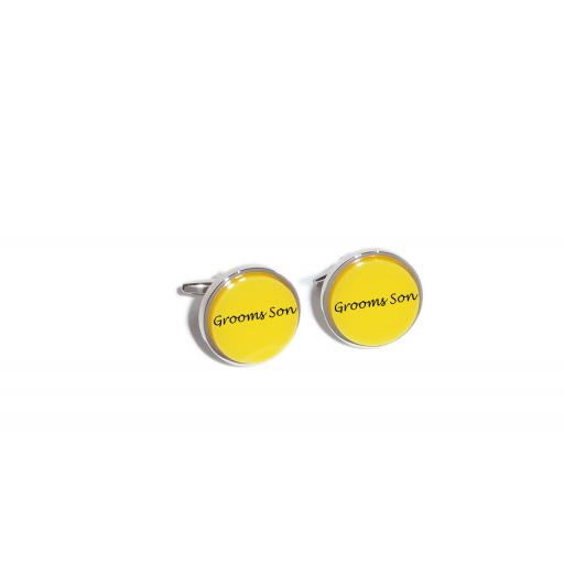Grooms Son Yellow Acrylic Insert Laser Engraved Cufflinks for the Wedding Party. Goom, Best Man, Father of The Bride. All cufflinks come with an organza gift pouch.