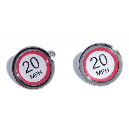 20 MPH Speed Sign cufflinks