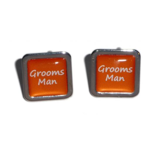 Grooms Man Orange Square Wedding Cufflinks