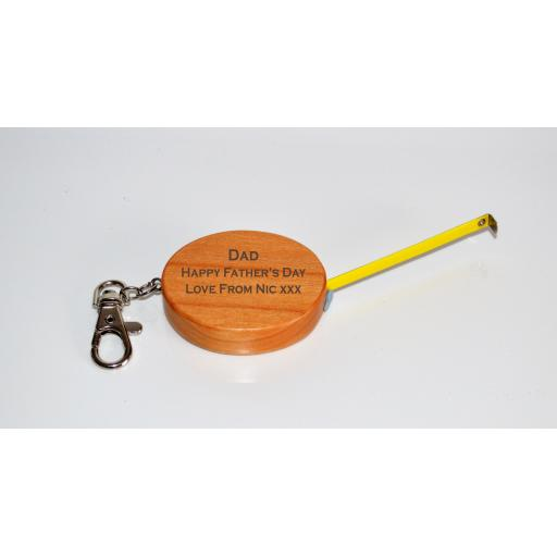 Personalised Wooden Tape Measure Keyring - DIY Gift, Fathers Day Gifts, Grandad