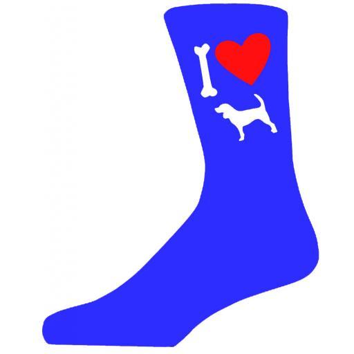 Blue Novelty Beagle Socks - I Love My Dog Socks