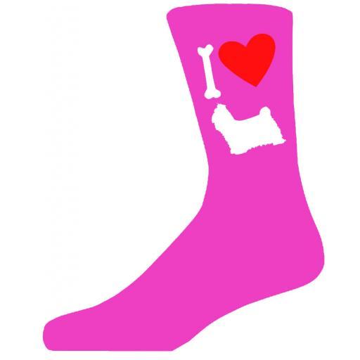 Hot Pink Ladies Novelty Shih Tzu Socks- I Love My Dog Socks Luxury Cotton Novelty Socks Adult size UK 5-12 Euro 39-49
