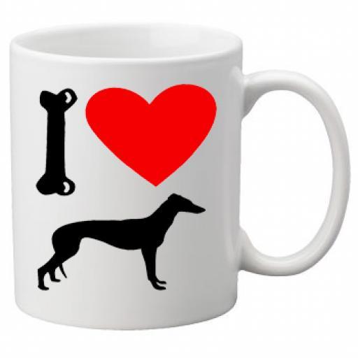 I Love Grey Hound Dogs on a Quality Mug, Birthday or Christmas Gift Great Novelty 11oz Mug