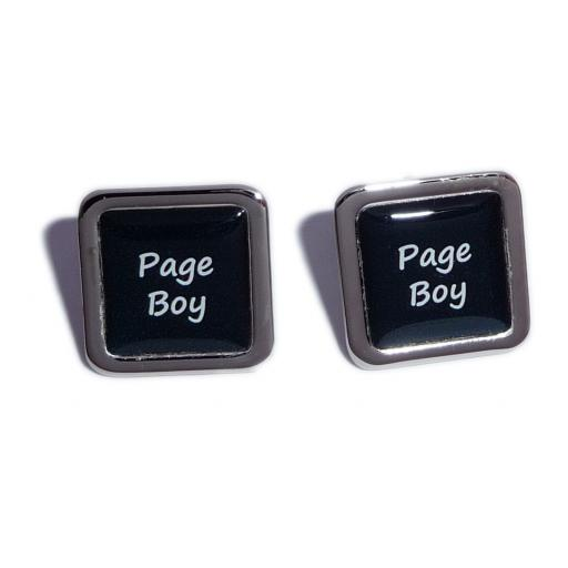 Page Boy Black Square Wedding Cufflinks