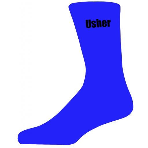 Blue Wedding Socks with Black Usher Title Adult size UK 6-12 Euro 39-49