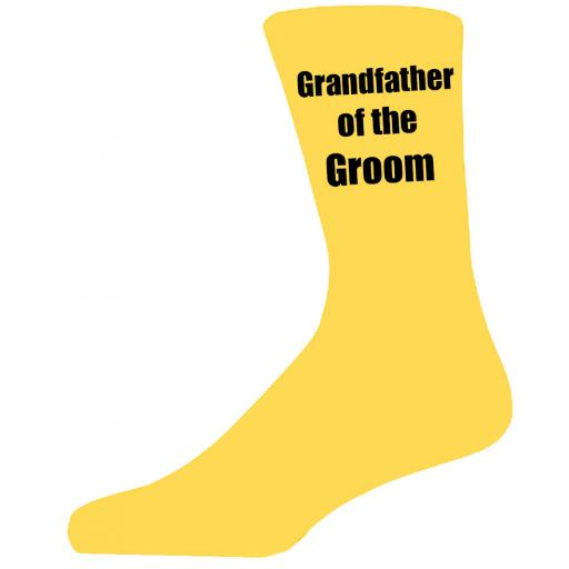 Yellow Wedding Socks with Black Grandfather of The Groom Title Adult size UK 6-12 Euro 39-49