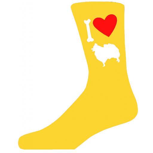 Yellow Novelty Pomeranian Socks - I Love My Dog Socks
