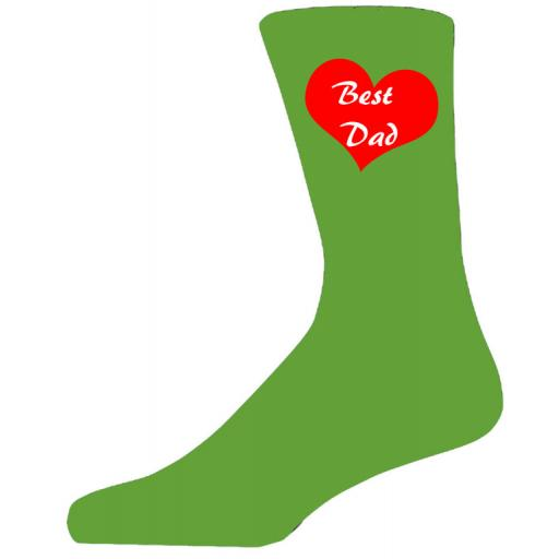 Best Dad in a Red Heart on Green Socks, Lovely Birthday Gift Adult size UK 6-12 Ideal for a Christmas, birthday or anytime gift