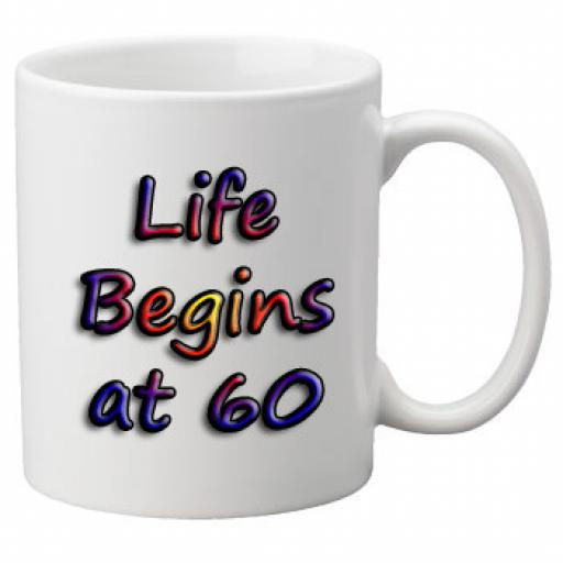 Life Begins At 60 Birthday Celebration Mug 11oz Mug, Great Novelty Mug, Celebrate Your 60th Birthday
