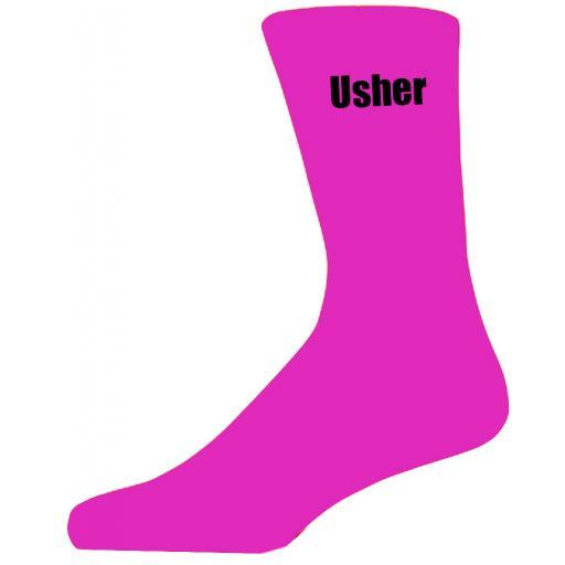 Hot Pink Wedding Socks with Black Usher Title Adult size UK 6-12 Euro 39-49