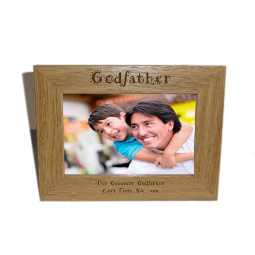 Godfather Wooden Photo frame 6 x 4 - Personalise this frame - Free Engraving - Please email glamgifts50@yahoo co uk