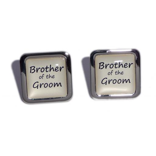 Brother of the Groom Ivory Square Wedding Cufflinks