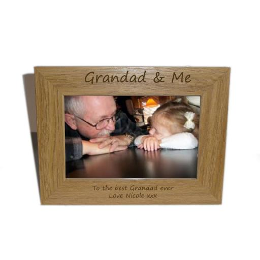 Grandad & Me Wooden Photo frame 6 x 4 - Personalise this frame - Free Engraving - Please email glamgifts50@yahoo co uk
