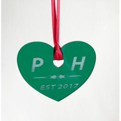 Green Acrylic Hanging Heart - Christmas Tree / Home Decor- Free Personalisation