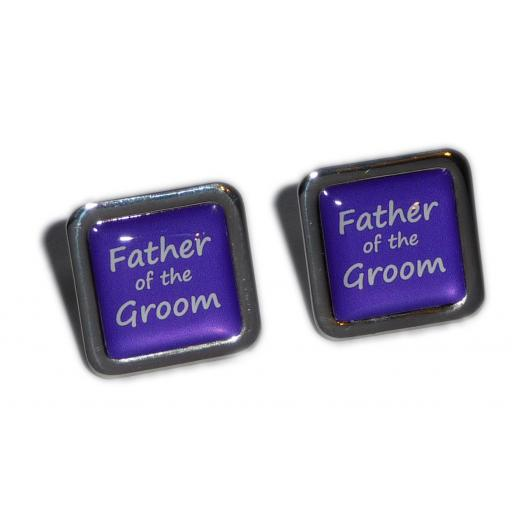 Father of the Groom Purple Square Wedding Cufflinks