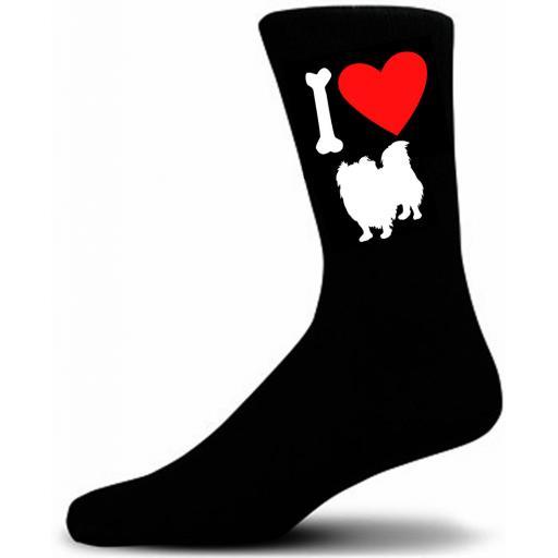 Mens Black Novelty Pekingese Socks- I Love My Dog Socks Luxury Cotton Novelty Socks Adult size UK 5-12 Euro 39-49