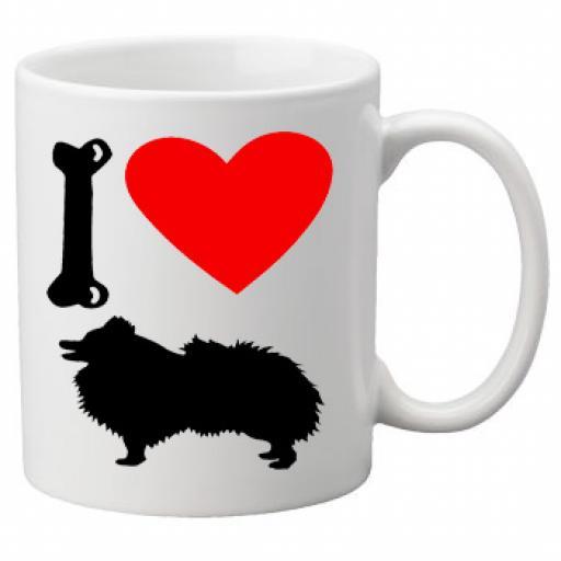 I Love Pomeranian Dogs on a Quality Mug, Birthday or Christmas Gift Great Novelty 11oz Mug