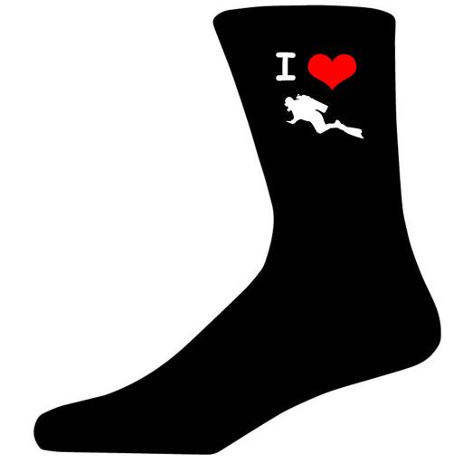 I Love Diving Picture Socks. Black Cotton Novelty Socks. Adult UK 5-12