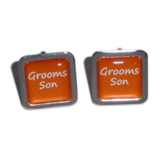 Grooms Son Orange Square Wedding Cufflinks