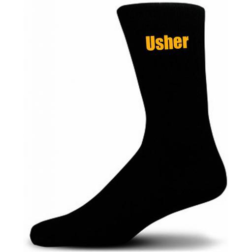 Black Wedding Socks with Yellow Usher Title Adult size UK 6-12 Euro 39-49