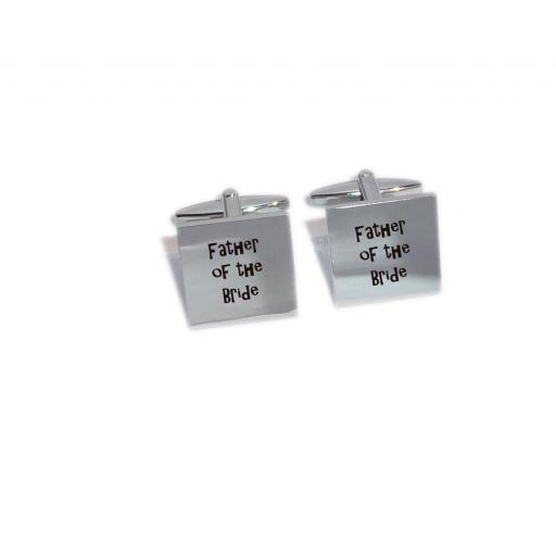 Father of the Bride Square Laser Engraved Cufflinks for the Wedding Party. Goom, Best Man, Father of The Bride. All cufflinks come with an organza gift pouch.