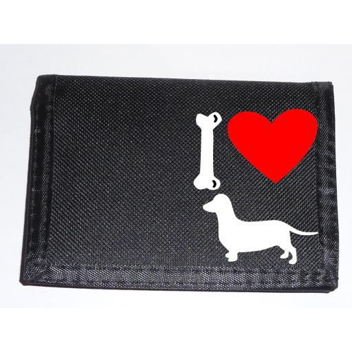 I Love Daschund Dogs on a Black Nylon Wallet, Stunning Birthday, Fathers Day or Christmas Gift