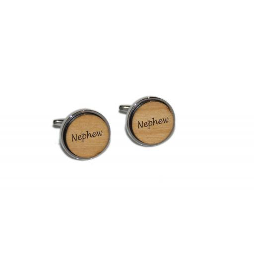 Nephew Round Wooden Insert Laser Engraved Cufflinks for the Wedding Party. Goom, Best Man, Father of The Bride. All cufflinks come with an organza gift pouch.