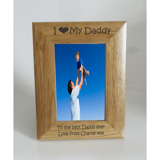 Daddy Photo Frame 4 x 6 - I heart-Love My Daddy 4 x 6 Photo Frame - Free Engraving