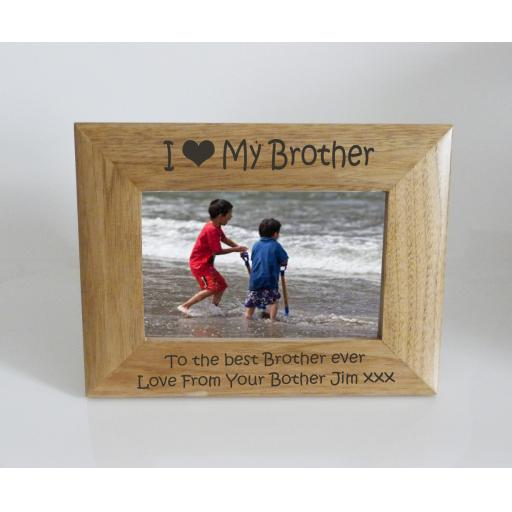 Brother Photo Frame 6 x 4 - I heart-Love My Brother 6 x 4 Photo Frame - Free Engraving