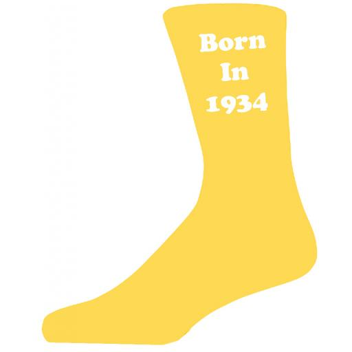 Born In 1934 Yellow Socks, Celebrate Your Birthday A Great Pair Of Novelty Socks For That Special Day