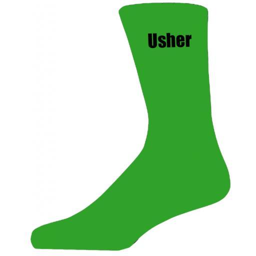 Green Wedding Socks with Black Usher Title Adult size UK 6-12 Euro 39-49