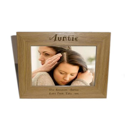 Auntie Wooden Photo frame 6 x 4 Size - Personalise this frame - Free Engraving - Please email glamgifts50@yahoo co uk