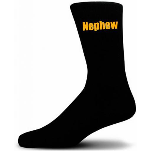 Black Wedding Socks with Yellow Nephew Title Adult size UK 6-12 Euro 39-49