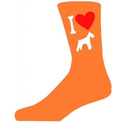 Orange Novelty Schnauzer Socks - I Love My Dog Socks