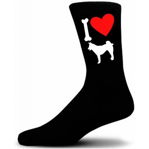 Mens Black Novelty Husky Socks- I Love My Dog Socks Luxury Cotton Novelty Socks Adult size UK 5-12 Euro 39-49