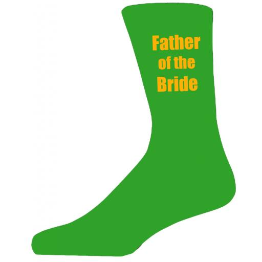 Green Wedding Socks with Yellow Father of The Bride Title Adult size UK 6-12 Euro 39-49