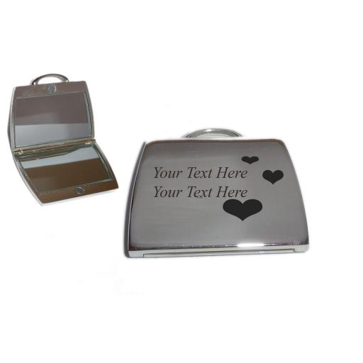 Personalised Handbag Mirror with Love Hearts design