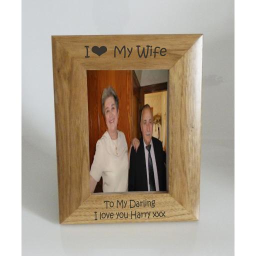 Wife Photo Frame 4 x 6 - I heart-Love My Wife 4 x 6 Photo Frame - Free Engraving
