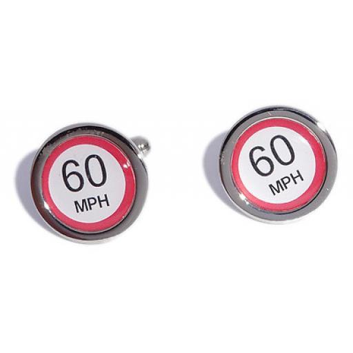 60 MPH Speed Sign cufflinks
