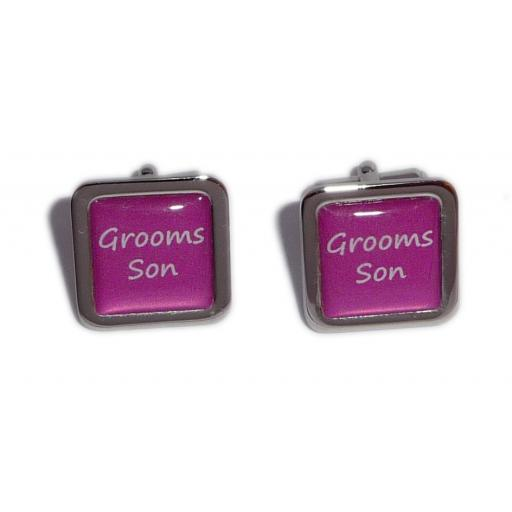 Grooms Son Hot Pink Square Wedding Cufflinks