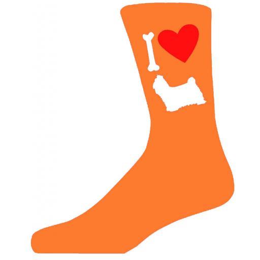 Orange Novelty Shih Tzu Socks - I Love My Dog Socks