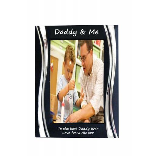 Daddy & Me Black Metal 4 x 6 Frame - Personalise this frame - Free Engraving