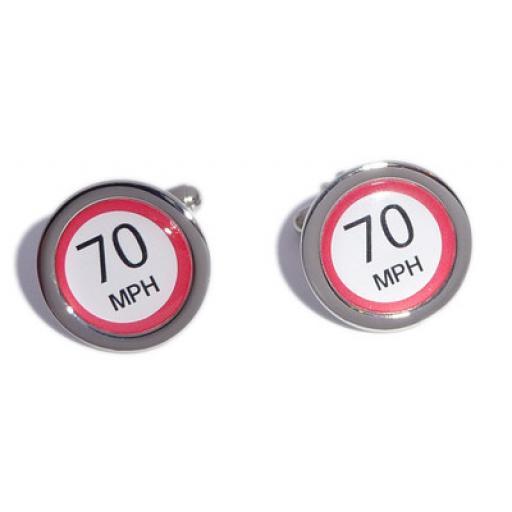 70 MPH Speed Sign cufflinks