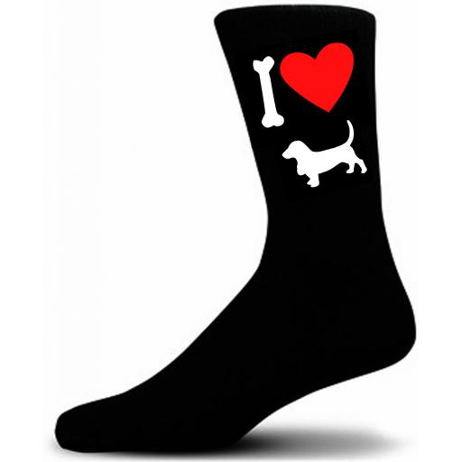 Mens Black Novelty Basset Hound Socks- I Love My Dog Socks Luxury Cotton Novelty Socks Adult size UK 5-12 Euro 39-49