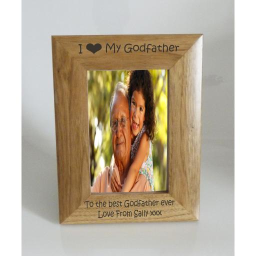 Godfather Photo Frame 4 x 6 - I heart-Love My Godfather 4 x 6 Photo Frame - Free Engraving