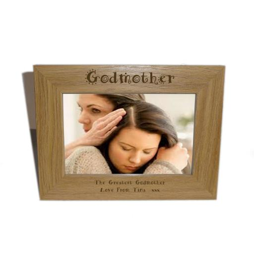 Godmother Wooden Photo frame 6 x 4 - Personalise this frame - Free Engraving - Please email glamgifts50@yahoo co uk