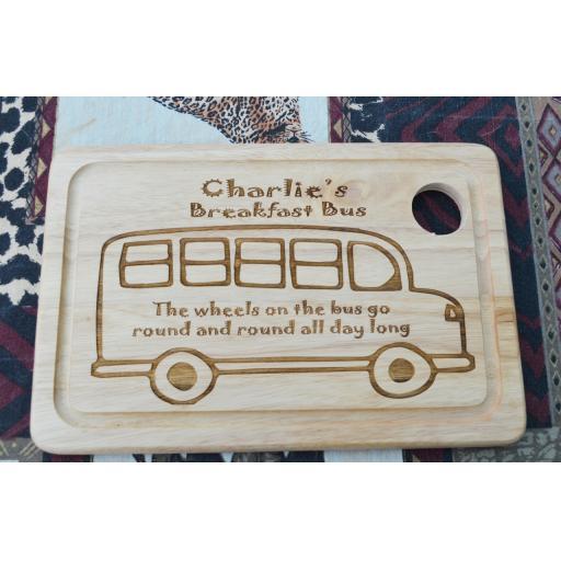 Breakfast Board - Personalised Bus Design Board/Plate - Free Engraving